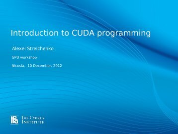 Introduction to CUDA programming - LinkSCEEM