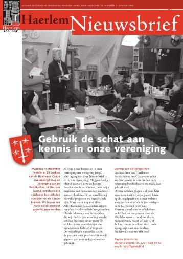 Nieuwsbrief april 2009 - Historische Vereniging Haerlem