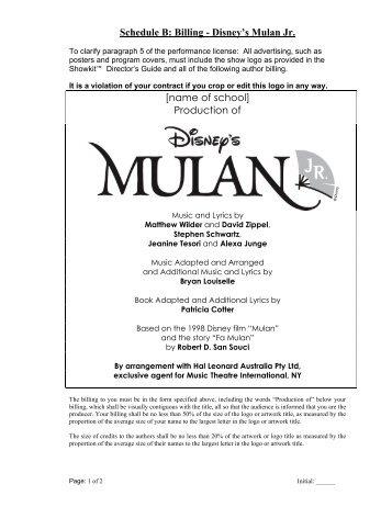 Disneys mulanjr castofcharacters theensembleprovides mulan jr billing hal leonard australia fandeluxe Gallery