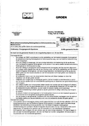 Motie Overgangsrecht Spuitzone (13GR0165) - Gemeente Houten