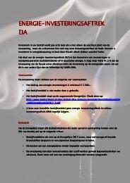 ENERGIE ENERGIE-INVESTERINGSAFTREK ENERGIE ENERGIE INVESTERINGSAFTREK EIA