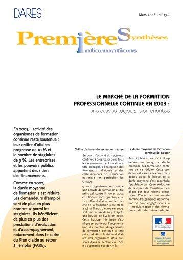 LE MARCHÉ DE LA FORMATION PROFESSIONNELLE CONTINUE ...
