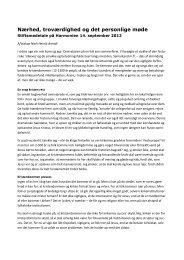 Nærhed, troværdighed og det personlige møde - Haderslev Stift