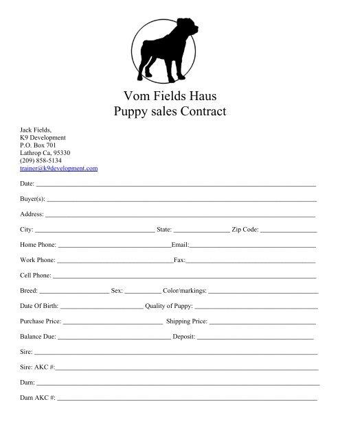 Vom Fields Haus Puppy Sales Contract K9 Development