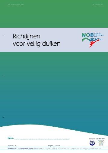 E12- Richtlijnen voor veilig duiken - Duikteam Drachten