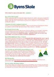 Nyhedbrev SFO og Klub November og December 2012 - Byens Skole