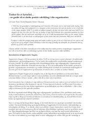 Tanker fra et hyttefad… - en guide til at skabe positiv udvikling i din ...