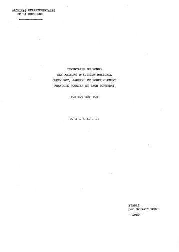 archives departementales de la dordogne inventaire du fonds