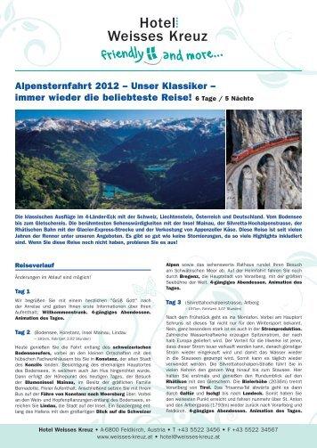 Alpensternfahrt 2012 - Hotel Weisses Kreuz Feldkirch