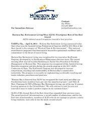 Press Release - Horizon Bay Retirement Living Wins 2011 Best of ...