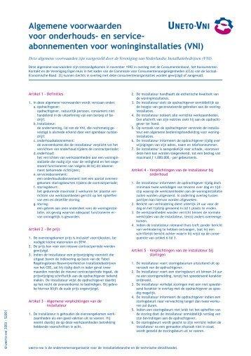 en service- abonnementen voor woninginstallaties - Techniko