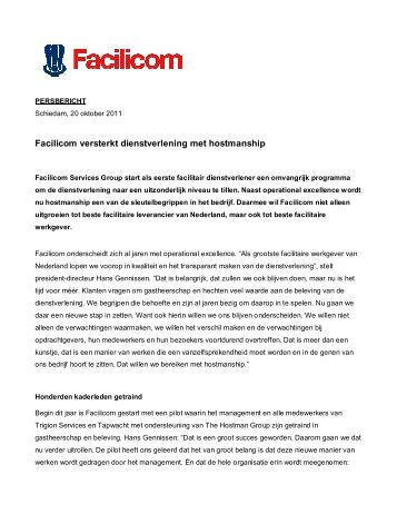 20 oktober 2011 - Facilicom versterkt dienstverlening met hostmanship