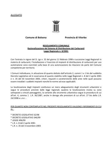 ALLEGATO Comune di Bolsena Provincia di Viterbo