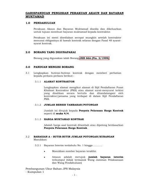Garis Panduan Akaun Dan Bayaran Muktamad Sampel Dokumen