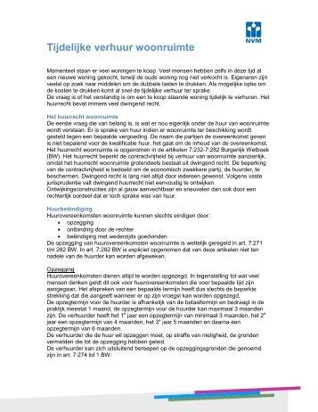 Huurovereenkomst zelfstandige woonruimte groenwest for Tijdelijke woonruimte