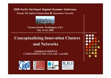 Conceptualizing innovation clusters and networks - Pacific ...