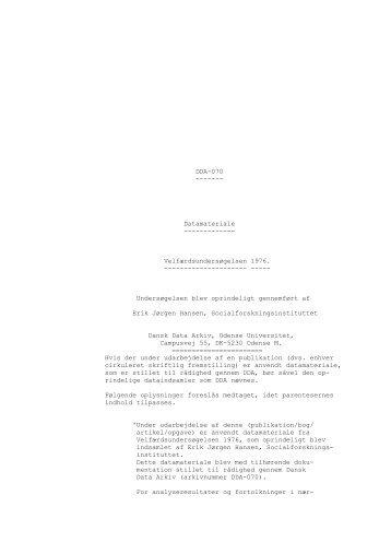Velfærdsundersøgelsen 1976. - DDA Samfund - Dansk Data Arkiv