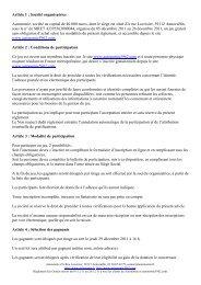 Article 1 : Société organisatrice - Autonomie
