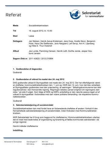 Dagsorden og referat fra mødet i Socialdirektørkredsen den 16 ...