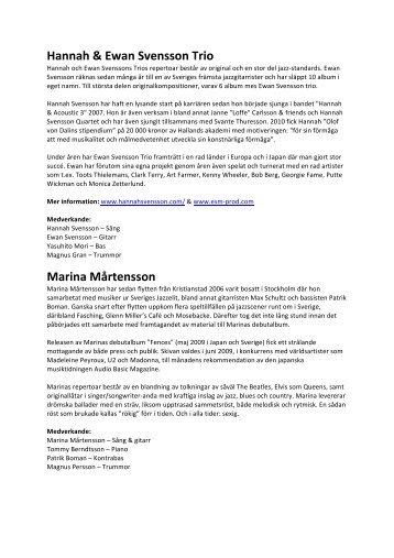 Hannah & Ewan Svensson Trio Marina Mårtensson - Varberg