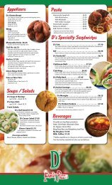 Appetizers Soups / Salads Pasta D's Specialty ... - D's Family Pizza