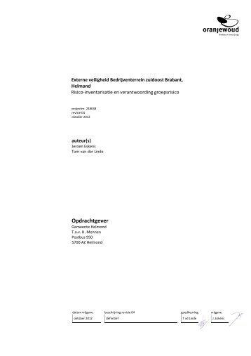 Rapport externe veiligheid, Risico-inventarisatie en verantwoording ...