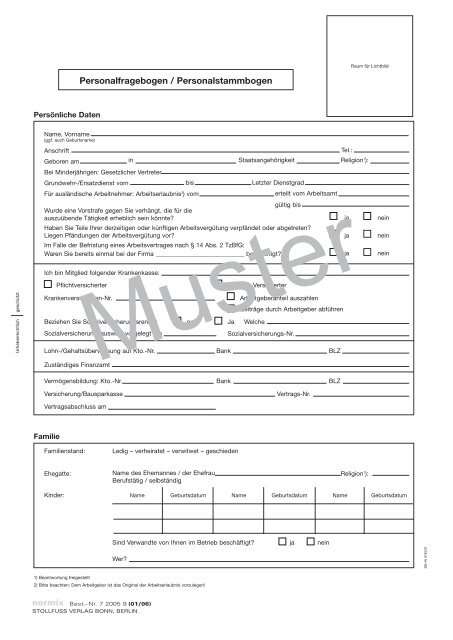 Personalfragebogen / Personalstammbogen