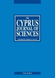 Cyprus Journal of Sciences, Vol. 10 - American College