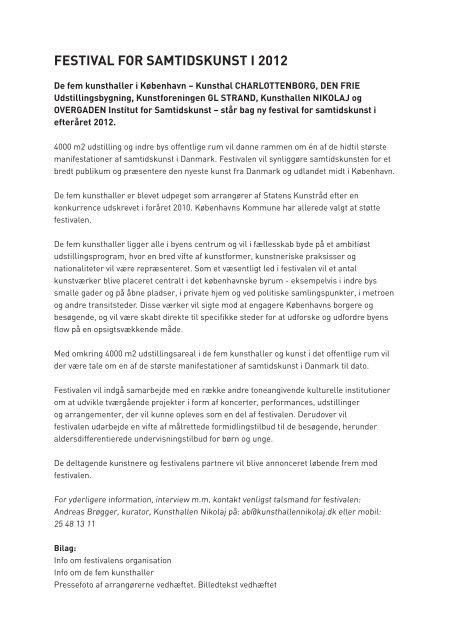 FESTIVAL FOR SAMTIDSKUNST I 2012 - Den Frie