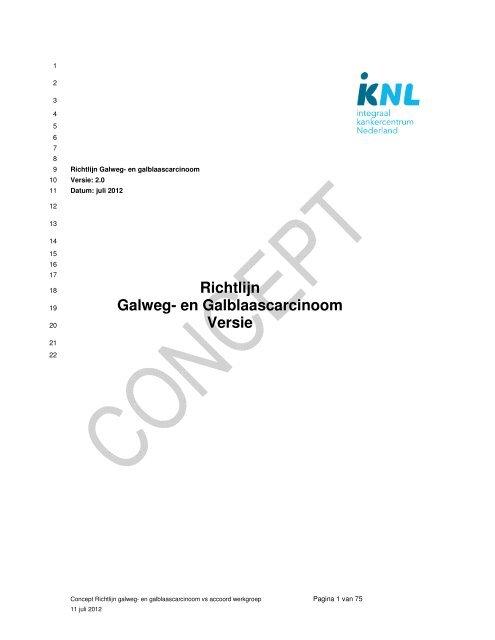 Richtlijn Galweg- en Galblaascarcinoom Versie - Oncoline