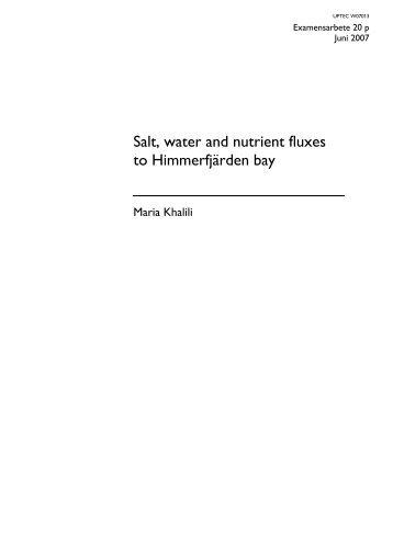 Salt, water and nutrient fluxes to Himmerfjärden bay