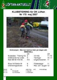 KLUBBTIDNING för OK Löftan Nr 170 maj 2007 Snötrampen : Man ...