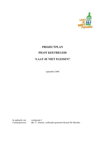 projectplan pilot keetbeleid - Wegwijzer Jeugd en Veiligheid