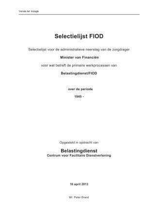 Selectielijst FIOD versie ter inzage - Nationaal Archief