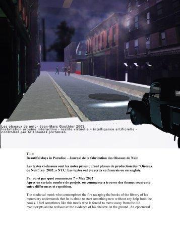 The making of Oiseaux de Nuit - Jean-Marc Gauthier