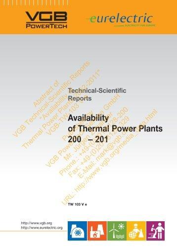 Availability of Thermal Power Plants 200 – 201 - VGB PowerTech