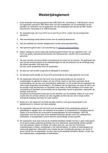 Wedstrijdreglement - Kbc