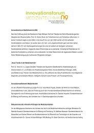 Innovationsforum Medizintechnik 2009 Nach der Eröffnung durch die ...