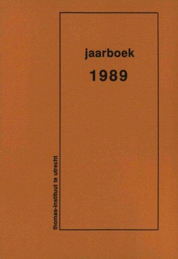 Jaarboek Thomas Instituut 1989 - Thomas Instituut te Utrecht