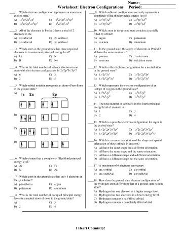 Printables Electron Configuration Worksheet Answers electron configuration worksheet 1 answers intrepidpath chemistry hh 3 configurations and orbital diagrams answers