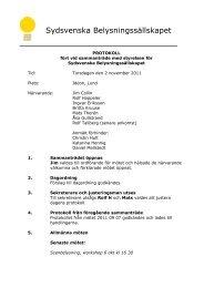 Protokoll från styrelsemöte 2011 11 02 - Sydljus