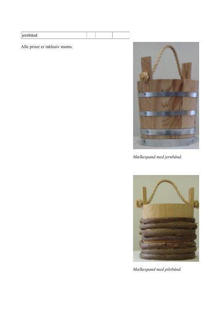 Prisliste på bødkervarer - Hjerl Hede