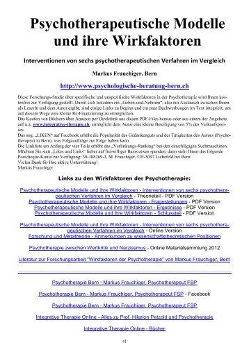 Psychotherapeutische Modelle und ihre Wirkfaktoren - Ergebnisse