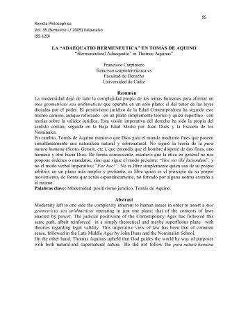 """LA """"ADAEQUATIO HERMENEUTICA"""" EN TOMÁS DE AQUINO ..."""