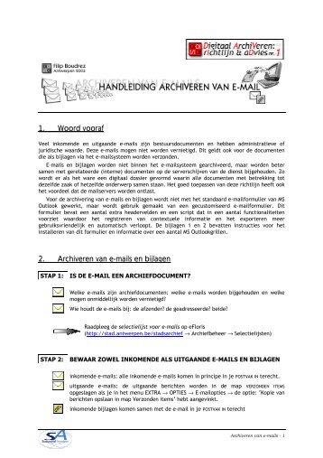 1. Woord vooraf 2. Archiveren van e-mails en bijlagen - eDAVID