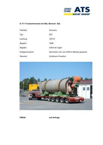 G 171 Trockentrommel mit HEL Brenner 822 Fabrikat: Ammann Typ ...