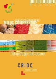 l'étiquetage nutritionnel MIEUX COMPRENDRE - Crioc