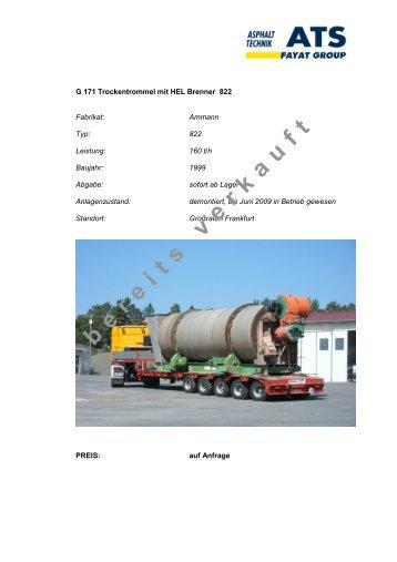 Datenblatt G 171 Trockentrommel mit HEL Brenner 822