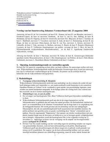 Verslag 23 augustus 2004 - Wijkcentrum Vondelpark ...