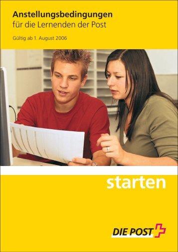 Anstellungsbedingungen für die Lernenden der Post starten